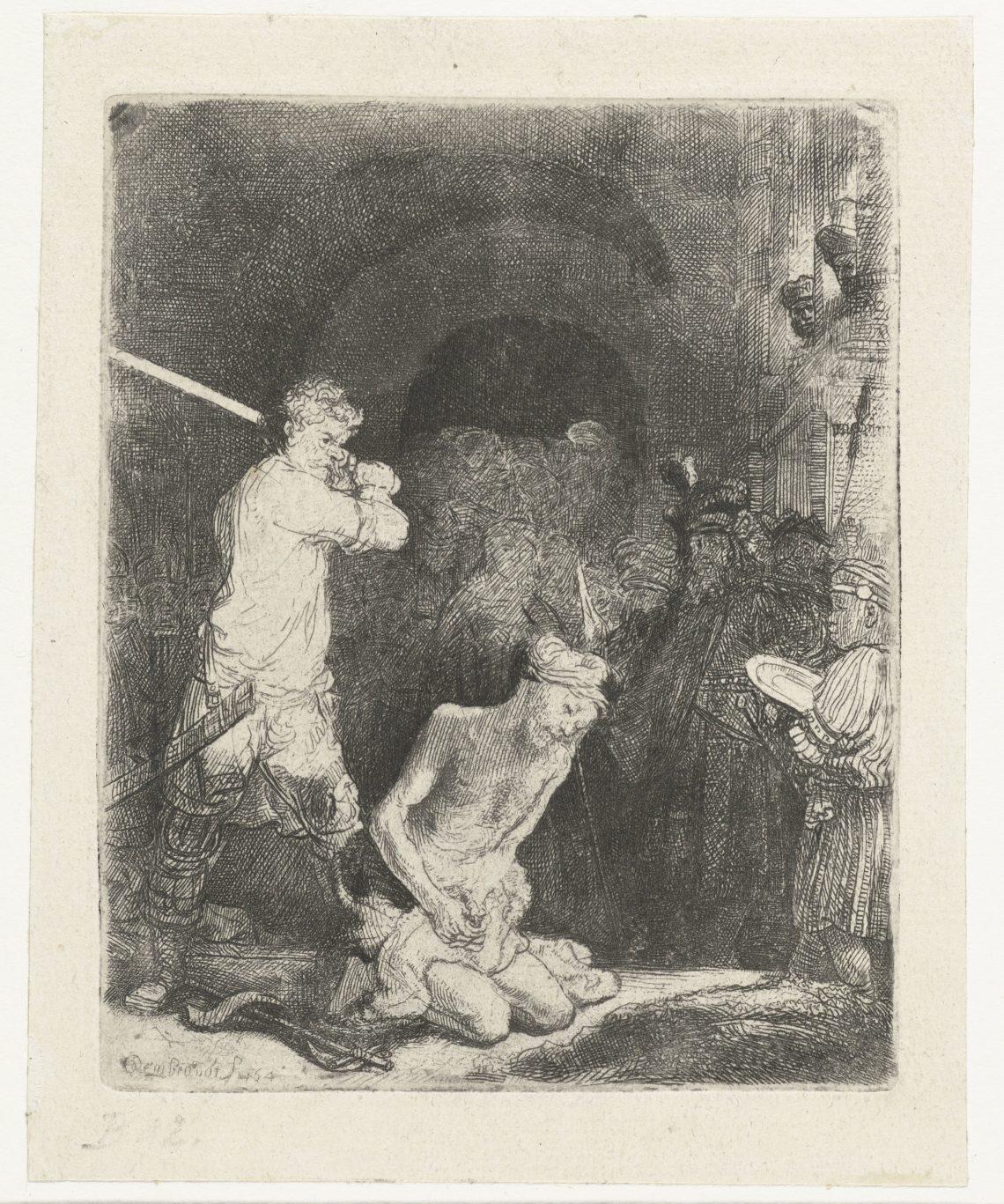 Foto van ets 'De onthoofding van Johannes de Doper' door Rembrandt van Rijn.