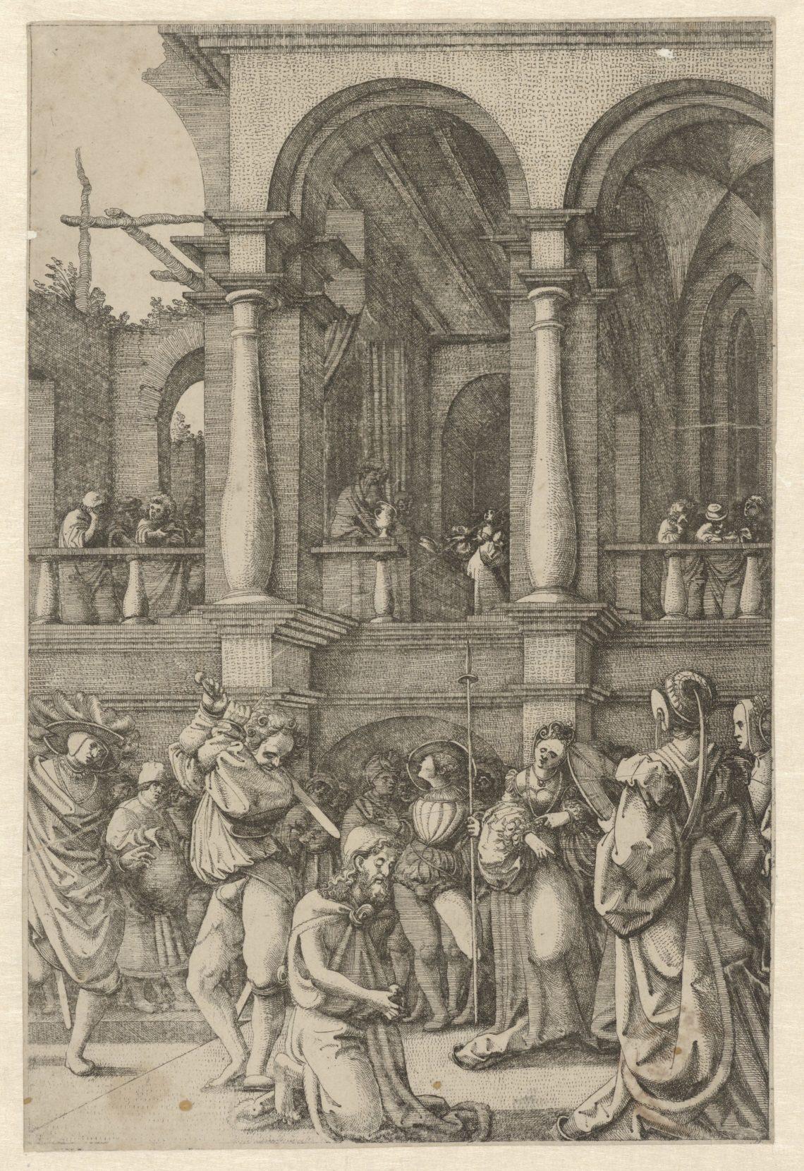 Foto van ets 'Onthoofding van Johannes de Doper' door Frans Crabbe van Espleghem