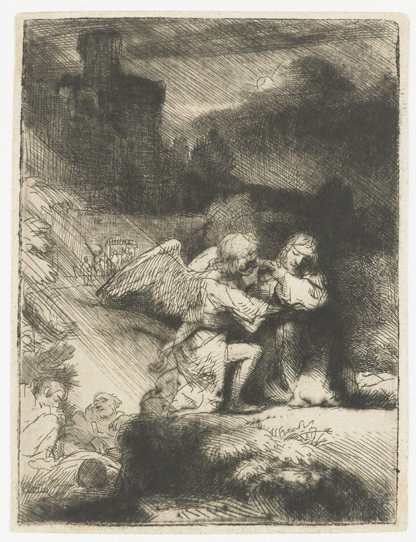 Foto van ets 'Jezus in de Hof van Getsemane' door Rebrandt van Rijn