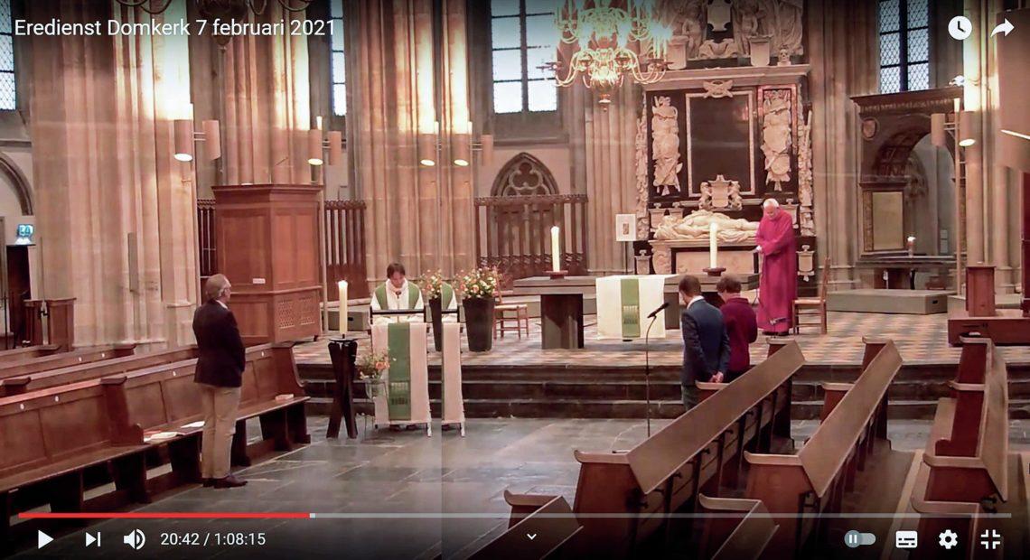 Screenshot Domkerk Utrecht, 7 februari 2021 (bron: DOMKERK Utrecht, YouTube)