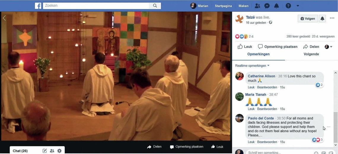 Screenshot avondgebed vanuit Taizé op Facebook, 3 mei 2020