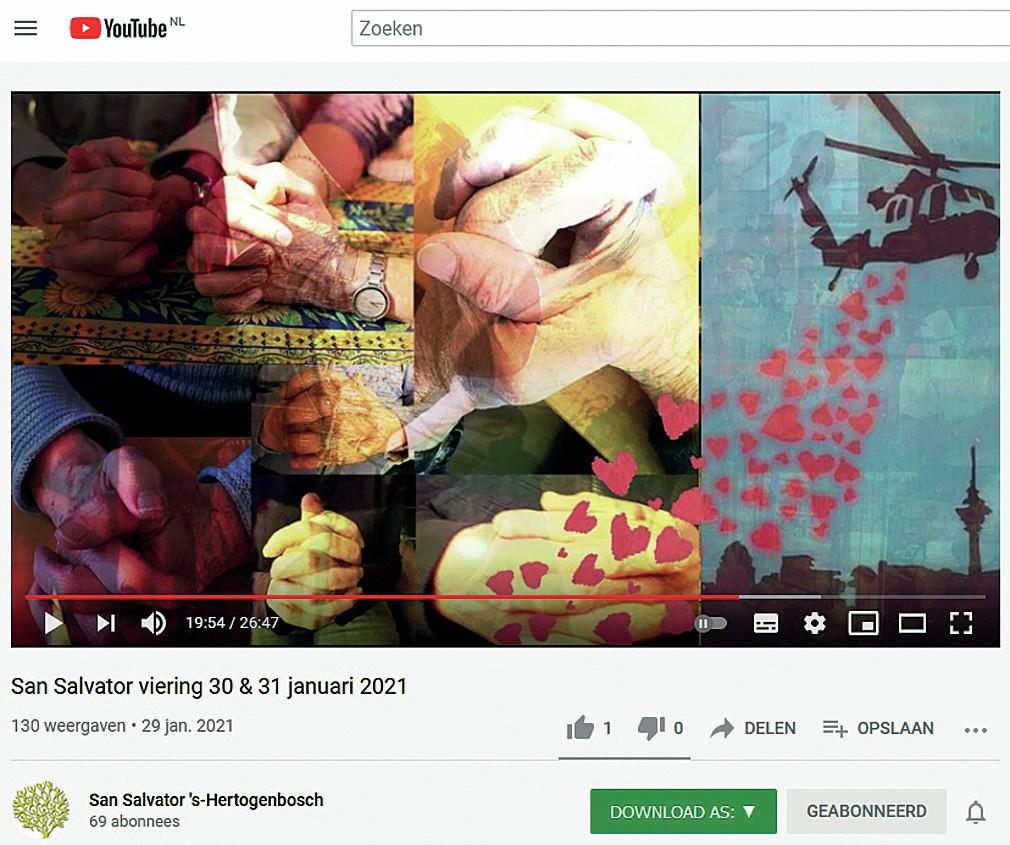 Screenshot San Salvator-viering 's Hertogenbosch, 30 en 31 januari 2021