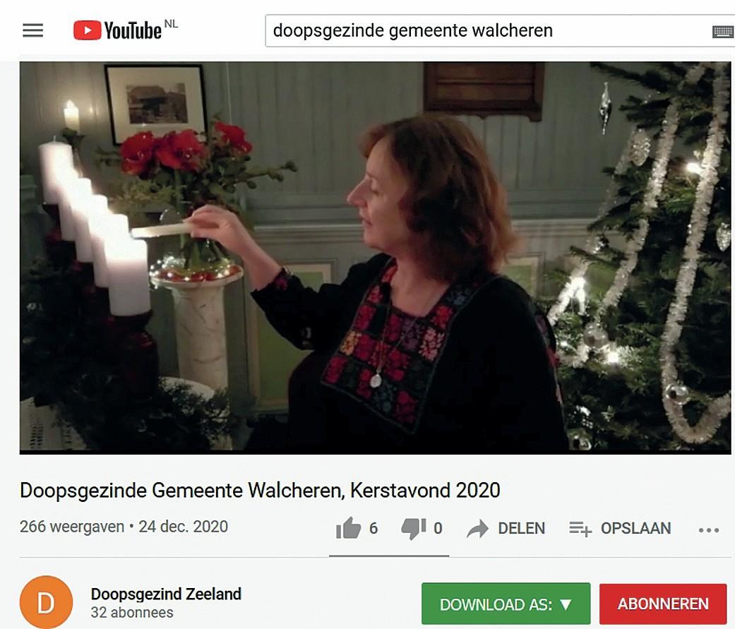Screenshot Doopsgezinde gemeente Walcheren, 24 december 2020